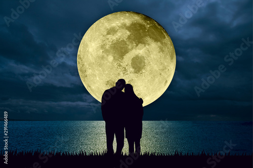 Fototapeta  Silhouette of couple embracing standing at the beach at night watching the moonlight from a big full moon shining in the ocean