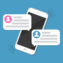 Smartphone With Chat Messages Notification In A Flat Design
