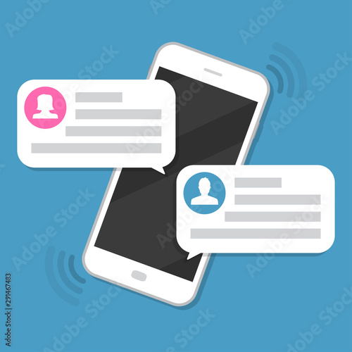 Photo sur Aluminium Graffiti collage Smartphone with chat messages notification in a flat design