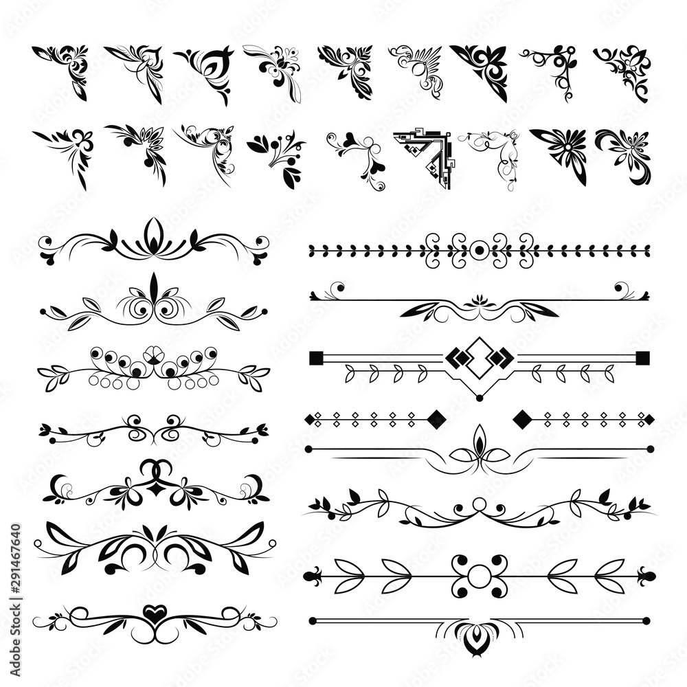 Fototapety, obrazy: Frame angles or text separation lines, floral pattern elements