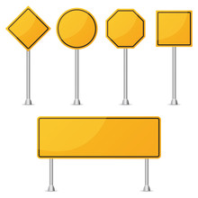 Set Of Yellow Blank Road Sign. Vector Illustration