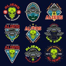 Aliens And Ufo Set Of Nine Vec...
