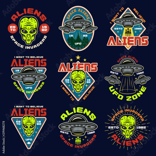 Aliens and ufo set of nine vector colored emblems Canvas Print