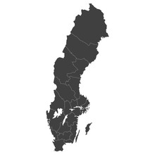 Sweden Map With Selected Regions In Black Color On A White Background