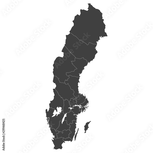 Cuadros en Lienzo  Sweden map with selected regions in black color on a white background