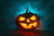 Pumpkin On Dark Background.