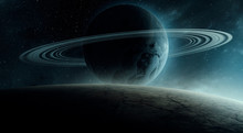 Surreal Space 3d Illustration, Planet With Rings Rising Over Horizon (no NASA Images Used)