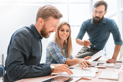 professional staff checking the financial report in the office