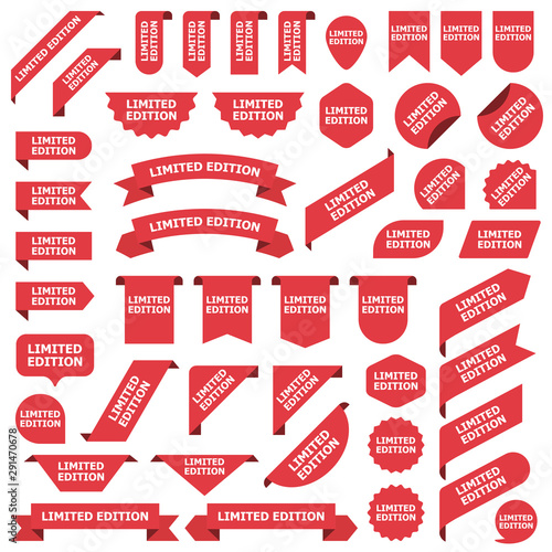 Fotografía  Big set of red stickers limited edition tags, labels and banners