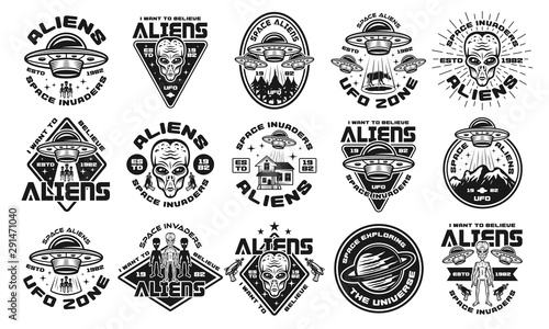 Fényképezés Aliens and ufo set of vector monochrome emblems