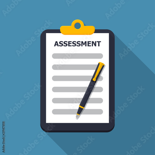 Photo Assessment document in clipboard with pen in a flat design with long shadow