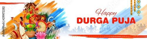 illustration of Goddess in Happy Durga Puja Subh Navratri Indian religious heade Wallpaper Mural