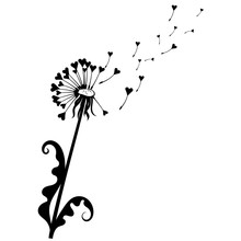 Dandelion With Hearts. Black And White Dandelion With Flying Seeds. Vector Illustration Of A Summer Flower. Silhouette Dandelion. Tattoo.