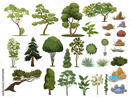Set Of Trees And Shrubs Collection Of Landscape Design Elements