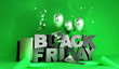 canvas print picture - Black Friday concept background big letters with golden balls and 3d render image