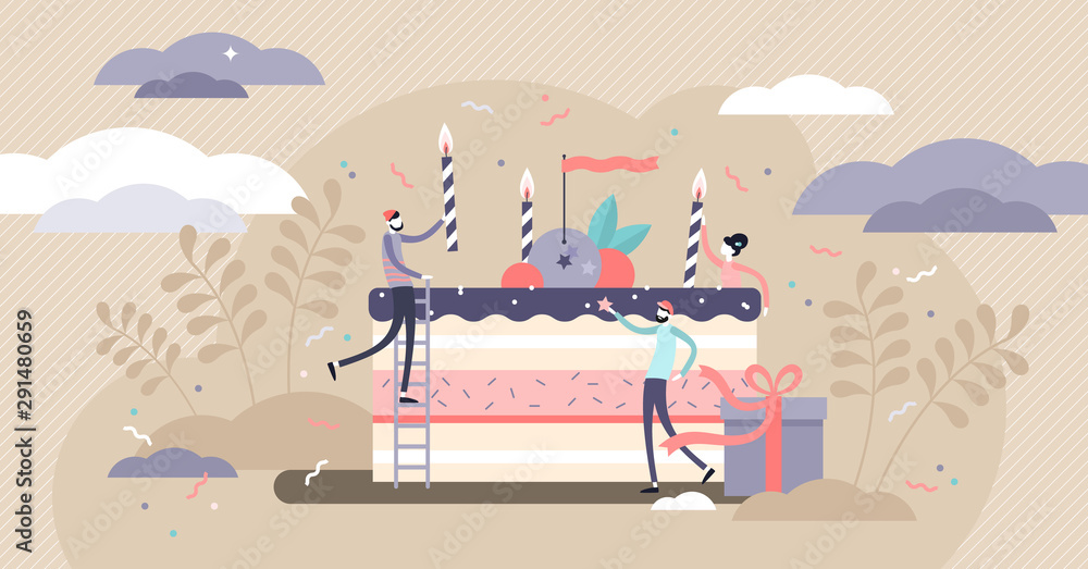 Fototapety, obrazy: Birthday vector illustration. Tiny party event organizing persons concept.