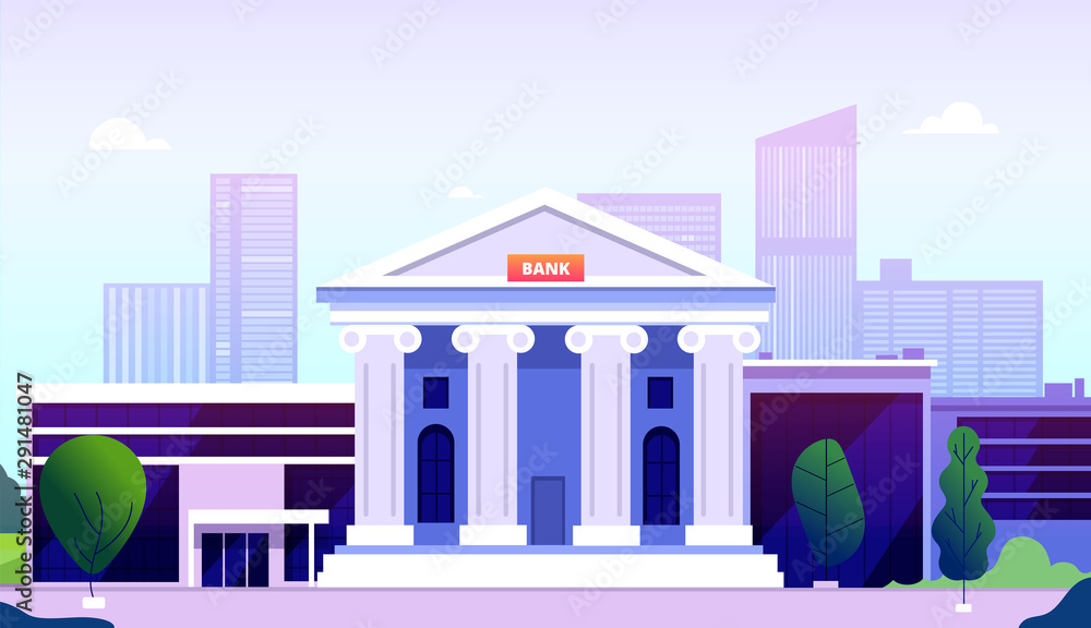 Fototapeta Bank building. Banking investment wealth growth symbols. Bank facade with columns on street government buildings financial vector. Illustration federal bank institution, public structure