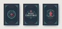 Christmas Greeting Cards Set Vintage Typographic Design, Ornate Decoration Symbols With Winter Holidays Wishes