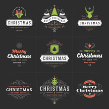 Merry Christmas Vector Ornate Labels And Badges Set, Happy New Year And Holidays Wishes Typography For Greeting Cards