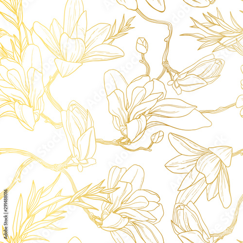 Türaufkleber Künstlich Vintage gold background with seamless floral pattern