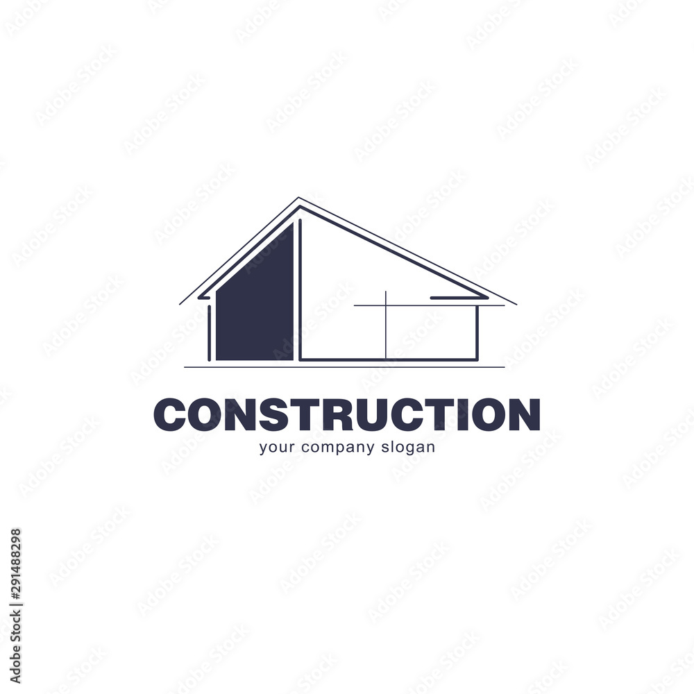 Fototapeta Architect construction logo template. Vector design icon for building company.