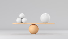 One Big Ball And Many Small Ones. On Wooden Scales On A White Background. 3d Render Illustration.