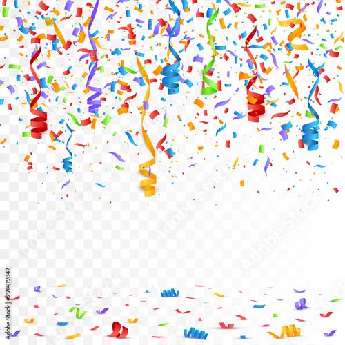 Fototapeta Color Confetti Isolated On White Background. Celebrate Vector Illustration obraz na płótnie