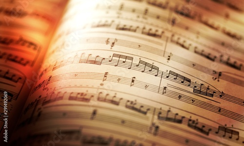 Canvas Print Sheets with music notes close-up on sunlight