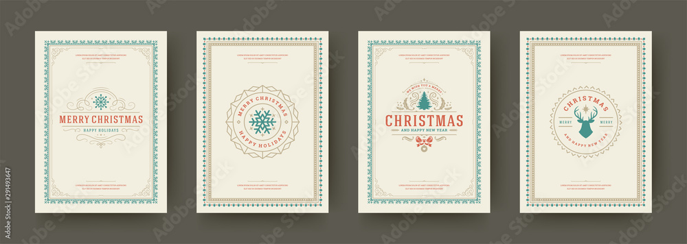 Fototapety, obrazy: Christmas cards vintage typographic design ornate decorations symbols with winter holidays wishes vector illustration