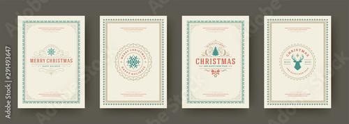 Pinturas sobre lienzo  Christmas cards vintage typographic design ornate decorations symbols with winte