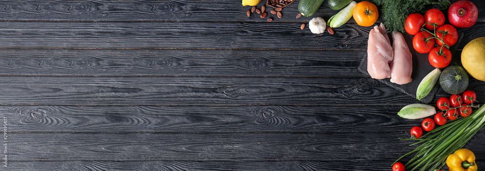 Fototapety, obrazy: Various healthy products on wooden background