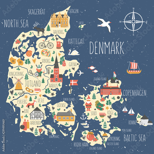 Fotografie, Tablou Kingdom of Denmark map vector, Nordic country geographic banner template, landma