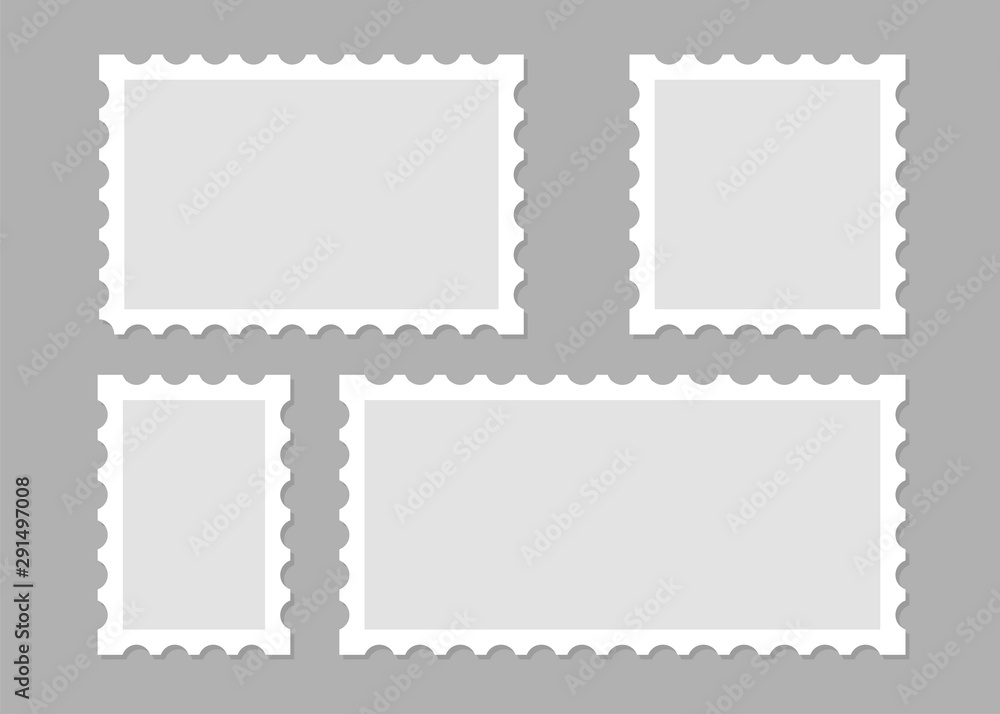 Fototapety, obrazy: Illustration with blank postage stamps. Isolated vector design. Perforated edge label. Label, sticker vector