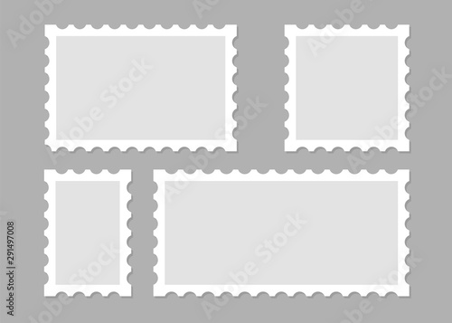Vászonkép Illustration with blank postage stamps