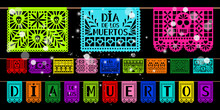 Day Of Dead Paper Decoration. Mexican Holiday Dia De Los Muetros Cutted Papers Art Papel Picado, Decorations Flags Ribbon Elements With Skulls, Vector Illustration