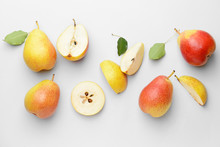 Sweet Ripe Pears On White Background