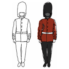 The Drawing Of A Soldier Of The British Royal Guard In A Red Uniform During The Service. Drawing In Color And Simple Line.