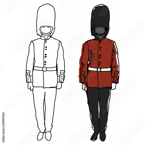 Stampa su Tela The drawing of a soldier of the British royal guard in a red uniform during the service