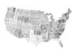 USA Lettering Map Vector Illustration Linear Art