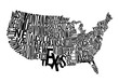 United States Of America Lettering Map Vector Art
