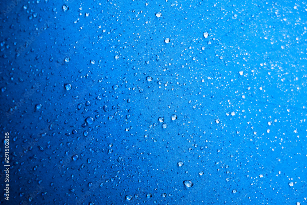 Fototapety, obrazy: Water drops on the blue fabric.water drops on blue background