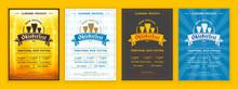 Oktoberfest Beer Festival Celebration. Retro Typography Poster Or Flyer Template For Beer Party. Set Of Different Invitation Design
