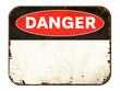 canvas print picture Empty vintage tin danger sign on a white background