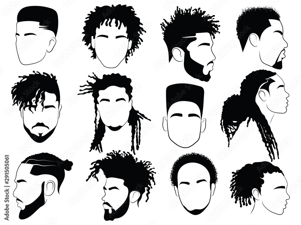 Fototapeta Set of afro hairstyles for men. Collection of dreads and afro braids for men. Black and white illustration for a hairdrymaker.