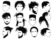 Set Of Afro Hairstyles For Men...