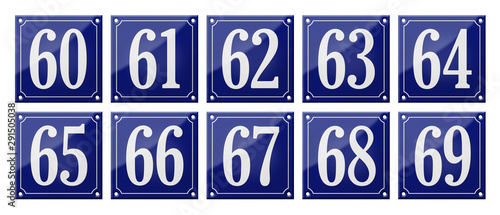 Fotografia  Set of traditional blue enamel signs - Numbers 60- 69
