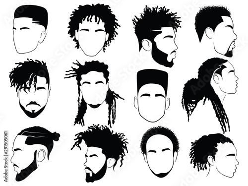 Set of afro hairstyles for men Canvas Print