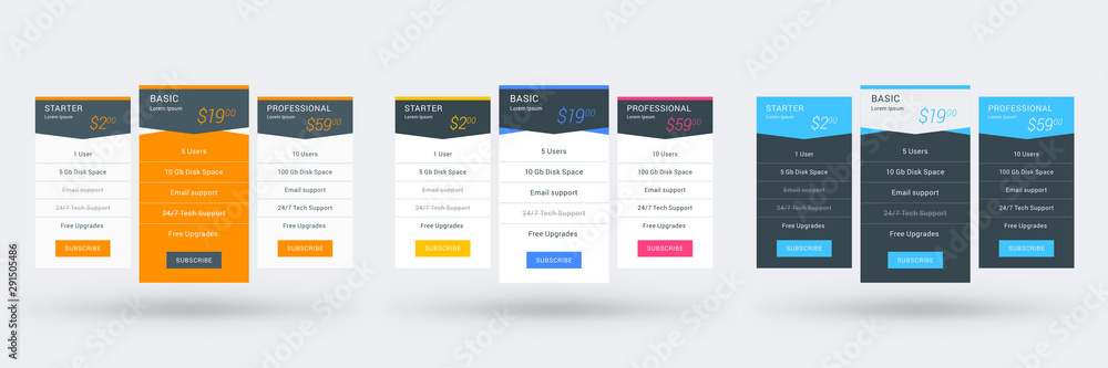 Fototapeta Pricing table design template for websites and applications. Set of three different color variations. Vector pricing plans. Flat style vector illustration