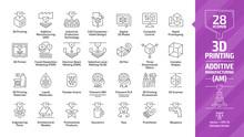 3D Printing Outline Icon Set W...