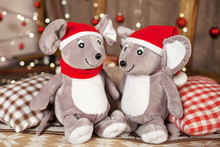 Soft Toy Grey Rats On Christmas Time. Symbol Of The New Year 2020 On The Chinese Horoscope.